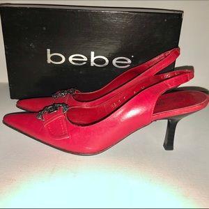 BEBE Sling Back Heels, Red, size 6